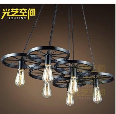 設計師美術精品館loft創意個性複古餐廳吧台美式鄉村鐵藝工業風車輪吊燈 六頭吊燈