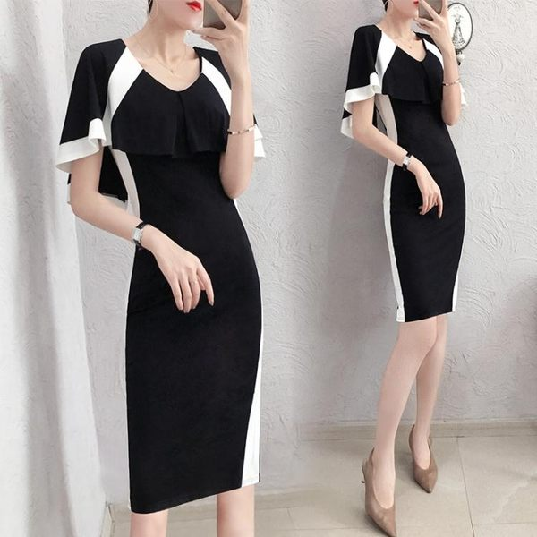 短袖洋裝 正式場合連身裙女夏新款端莊大氣修身氣質黑白包臀裙子中長款