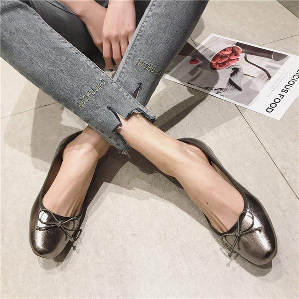 大尺碼女鞋小尺碼女鞋方頭素面芭蕾舞鞋娃娃鞋包鞋工作鞋黑色銀色金色(35-41)