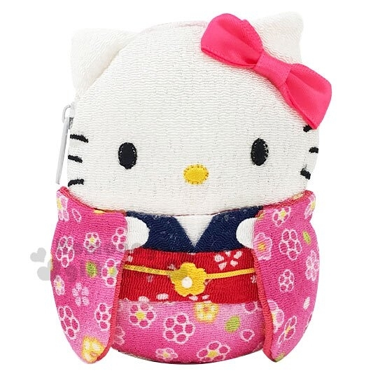 〔小禮堂〕Hello Kitty 迷你全身造型和風絲質零錢包《粉白.和服》收納包.耳機包 4991567-96618
