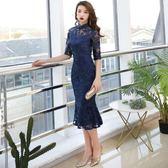 旗袍洋裝 改良旗袍晚禮服宴會連身裙魚尾中長款中式修身性感 巴黎春天