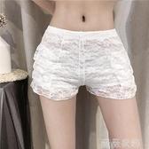 安全褲 2021年夏季新款可外穿蕾絲白色打底褲網紅安全褲防走光短褲子女裝 薇薇