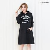 洋裝--美式休閒街頭運動風格字母印圖連帽袋鼠口袋長袖棉質洋裝(黑.綠XL-5L)-A253眼圈熊中大尺碼◎