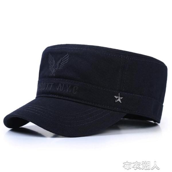 休閒帽 帽子男春秋戶外休閒平頂帽軍帽男潮青年中年韓版秋冬鴨舌帽棒球帽 布衣潮人