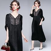 中大尺碼洋裝連身裙~復古大碼醋酸寬松氣質民族風V領印花連身裙H405A莎菲娜