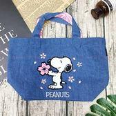 【KP】SNOOPY 單寧櫻花手提袋 袋子 正版日本進口授權 4589928150906