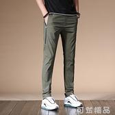 夏季冰絲薄款男士休閒褲子社會小伙寬鬆修身小腳直筒夏褲韓版潮流 可然精品
