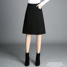 窄裙秋冬新款黑色a字包臀裙OL職業裙毛呢半身裙中長款過膝裙子女中裙 萊俐亞