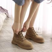 馬丁靴網紅馬丁靴女單鞋靴子女鞋2019新款春款春季齊踝短靴平底百可卡衣櫃