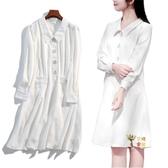孕婦洋裝 秋島*春秋長袖洋裝襯衫裙哺乳喂奶產后洋裝孕婦寬鬆小白裙女 S-XL
