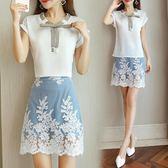 兩件式套裝 時尚套裝女夏季新款小香風包臀蕾絲短裙顯瘦兩件套LJ8766『科炫3C』