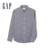 Gap 男裝 柔軟彈力格紋府綢長袖鈕扣襯衫 441129-藍色方格花布
