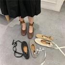 芭蕾舞鞋復古甜美日常仿羊皮韓版綁帶鞋仙女風奶奶鞋軟平底單鞋女 布衣潮人