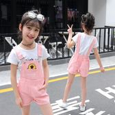 吊帶褲套裝2018新款韓版中大童女童短褲兩件式 GY1404『寶貝兒童裝』