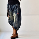 純棉長褲女 做舊刺繡休閒褲 八分牛仔燈籠褲-夢想家-N6803C-0119