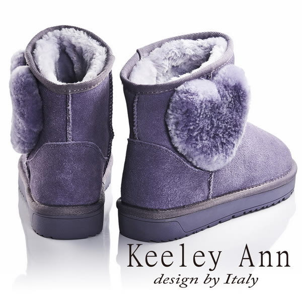 ★零碼出清★Keeley Ann暖心冬季~甜美羊毛愛心造型真皮雪靴(紫色)