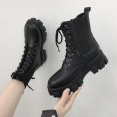 馬丁靴女秋冬新款內增高加絨女靴英倫風網紅瘦瘦靴厚底短靴潮