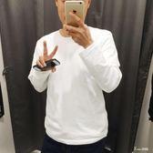 白色長袖T恤 純棉圓領純白男女大碼〖Korea時尚記〗