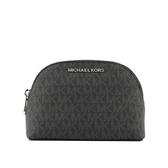 【MICHAEL KORS】PVC LOGO銀字化妝包(黑色) 35F9STVT3B BLACK