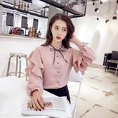 韓版寬鬆雪紡襯衫女長袖蝴蝶結繫帶百搭學生襯衣上衣    琉璃美衣