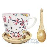 〔小禮堂〕Hello Kitty 陶瓷馬克杯附匙蓋《白.側坐.櫻桃.檸檬》300ml.湯杯 4713218-89022
