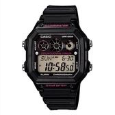 【CASIO】十年之旅方款膠帶電子錶-黑X粉(AE-1300WH-1A2)