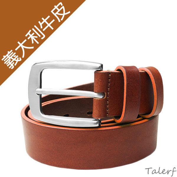 TALERF馬卡龍個性單層皮帶(橘色/共6色)-情侶-男 /真皮 牛皮/台灣製造