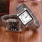 老人手錶鬆緊彈簧帶老人大錶盤方形手錶防水男士送父親爸爸中老年人腕錶 快速出貨