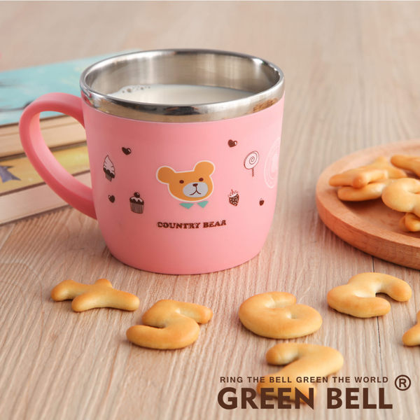 【GREEN BELL綠貝】304不鏽鋼隔熱兒童杯-鄉村熊(藍色/粉色) SGS檢驗無毒 杯子 小杯子 不銹鋼杯