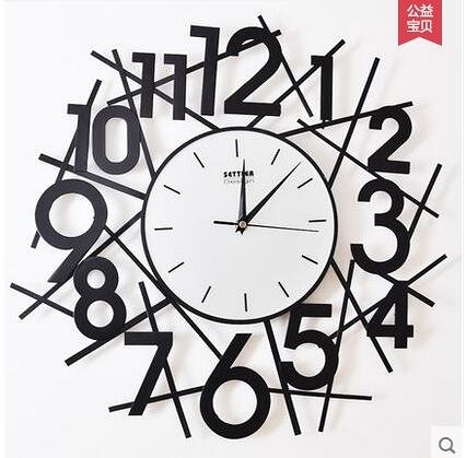 settler卓爾靜音掛鐘現代鐵藝掛鐘簡約創意藝術掛錶立體數字鐘錶