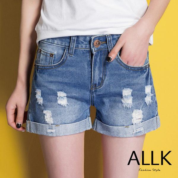 【ALLK】褲管反摺刷破牛仔褲 藍色 (腰圍27-31)
