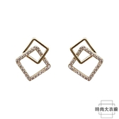 耳環銀針方形幾何個性耳釘百搭氣質幾何耳飾女簡約【時尚大衣櫥】