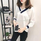 上衣韓版長袖t恤女學生寬鬆百搭打底衫潮  瑪奇哈朵