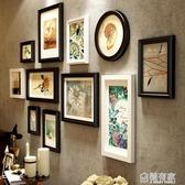 照片墻歐式實木相片墻創意過道餐廳客廳裝飾相框掛墻組合美式復古