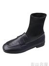初秋小短靴女2020秋款新款英倫風百搭ins網紅瘦瘦彈力襪靴小皮靴  自由角落