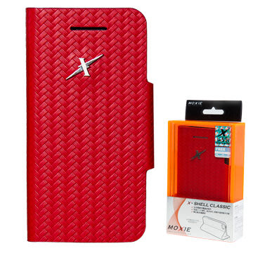 X-Shell  iPhone5/5S/SE 防電磁波真皮掀蓋套/全球獨創防電磁波設計x結合NFC讀取悠遊卡(魔力紅)