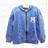 ☆棒棒糖童裝☆(A96065)男大童休閒印花藍色運動風內磨毛連帽外套  120-170