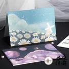 4款 唯美浪漫夢幻鯨魚戀人祝福折疊賀卡信封祝福節日通用賀卡新年賀卡【君來佳選】
