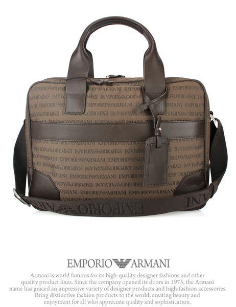 Emporio Armani 織布LOGO手提斜背公事包(咖啡色)102025