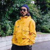 男士亮黃工裝連帽夾克外套男