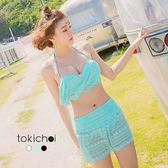 東京著衣-多色輕甜蕾絲綁帶三件式泳裝(180296)