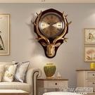 鹿頭掛鐘北歐歐式創意客廳大氣鐘錶美式家用時尚個性石英鐘實木鐘CY『新佰數位屋』