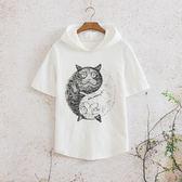 夏季中國風復古貓咪印花連帽衫短袖T恤正韓潮流青年男士半袖體恤