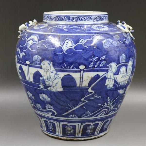 明嘉靖藍地留白嬰戲罐手工仿古老貨家居復古瓷器裝飾擺件古玩收藏1入