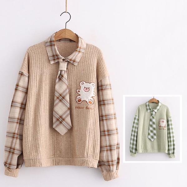 *ORead*日系卡通格子長袖襯衫領套頭衛衣(3色F碼)