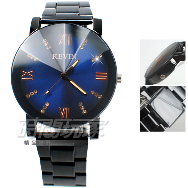 KEVIN 羅馬情懷 時刻鑲鑽 立體多角切割鏡面 學生錶 防水手錶 IP黑 女錶 男錶 中性錶 KE2068藍鑽大