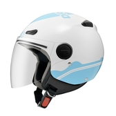 【東門城】ZEUS ZS210B DD89(白藍) 半罩式安全帽 快拆鏡片