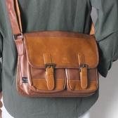 男包復古學生書包潮牌側背包商務休閒斜背包男皮包IPad包 伊蘿