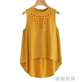 夏季新品歐美女裝燒花無袖背心上衣舒適T恤 『蜜桃時尚』