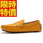 牛皮豆豆鞋-熱銷新款真皮男休閒鞋4色59b46[巴黎精品]